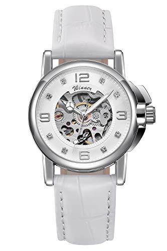 Bestn Women's Steampunk Skeleton Automatic Mechanical Wristwatch