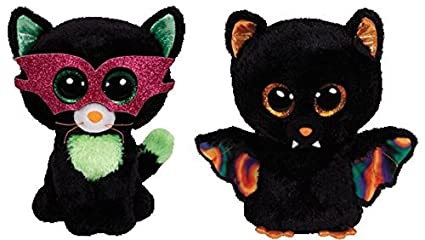 0ded2d4b224 Image Unavailable. Image not available for. Color  Ty Jinxy the Cat    Scarem the Bat Halloween Beanie Boos Set of 2 Plush Toys