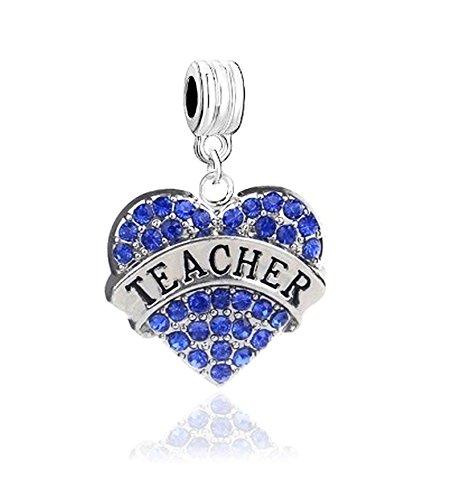 LOVE TEACHING TEACHER HEART BLUE CRYSTALS CHARM SLIDER PENDANT ADD TO YOUR NECKLACE, EUROPEAN BRACELET, DIY, ETC.