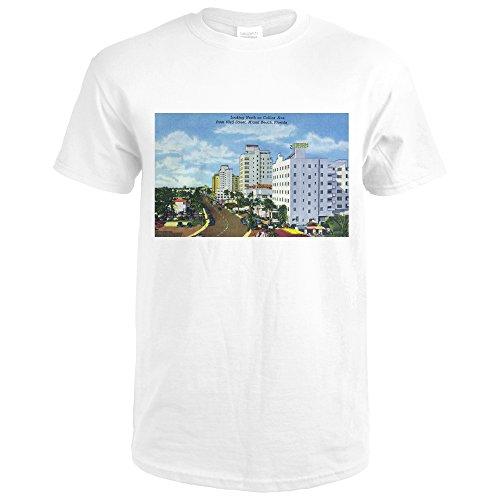 Miami Beach, Florida - North View up Collins Avenue (Premium White T-Shirt - Miami Collins Beach