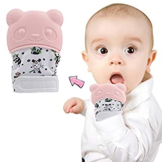 Brandream Panda Baby Glove/Mitten/Mitt Infant Scratch Free Mittens Baby Teether Toys Printed, Pink