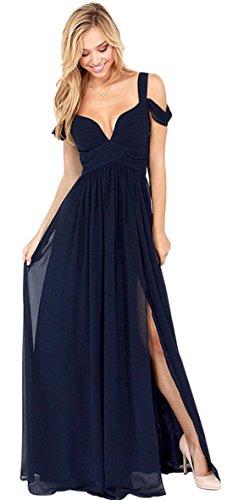 Vintage Greek Style Cold Open Drop Shoulder Deep V Neck Chiffon Shirred Ruched Long Maxi A-Line Dress Blue S