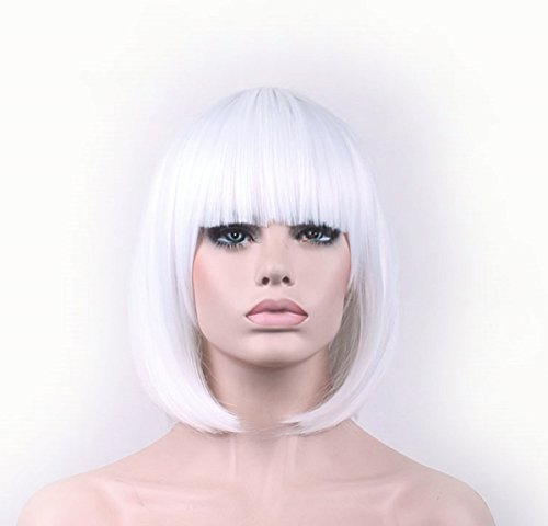 LUCKY-GIRL Synthetic Straight Short Hair Bob Natural White Wigs 11.5