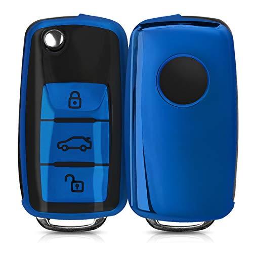 🥇 kwmobile Funda para Mando Compatible con VW Skoda Seat – Funda TPU Llave con Botones para Llave de 3 Botones para Coche VW Skoda Seat – Azul Brillante/Negro Brillante