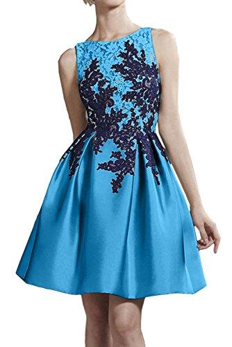 Spitze Kurz Rund Damen Abiballkleider Ivydressing Festlich Applikation Cocktailkleider Blau Satin wI7I4aq