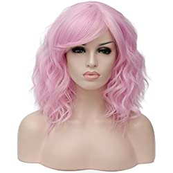 Alacos Fashion 35cm Short Curly Bob Anime Cosplay Wig Daily Party Christmas Halloween Synthetic Heat Resistant Wig for Women +Free Wig Cap (Pink-Purple Side Parting)