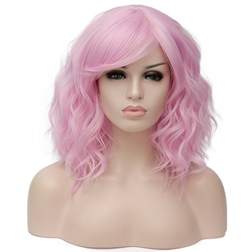 Alacos Fashion 35cm Short Curly Bob Anime Cosplay Wig Daily Party Christmas Halloween Synthetic Heat Resistant Wig for Women +Free Wig Cap (Pink-Purple Side Parting) ()