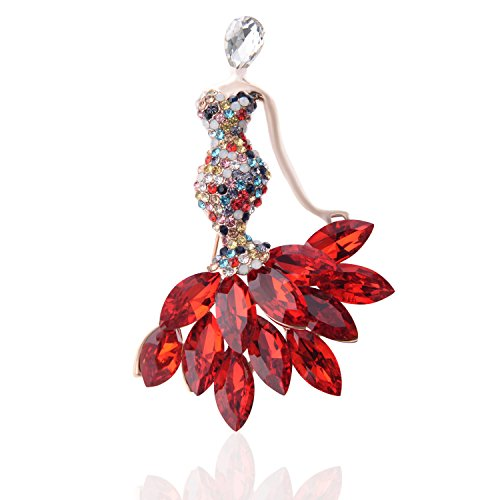 TAGOO Tulip Fox Brooches Pins Scarf Clips Unisex for Women&Men Wedding/Dailywear/Banquet (Red Rhinestone Crystal Mermaid Brooch & Pendant (Crown Trifari Clip)