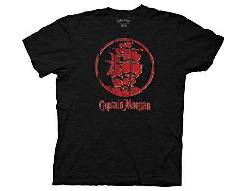 - Ripple Junction Captain Morgan Adult Unisex Distressed Red Ship Light Weight 100% Cotton Crew T-Shirt XX-Large Black
