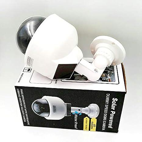 C/ámara de Seguridad Falsa con luz LED roja Intermitente para Interiores y Exteriores Solar Energy XuBa