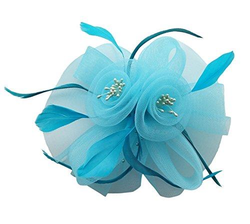 Fascinator Hair Clip Headband Feather Flower Pillbox Hat Weeding Tea Party B Light Sky (Light In The Box Party Dresses)