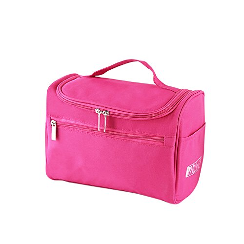 Hanging Travel Toiletry Bag for Men and Women - Decdeal Waterproof Cosmetic Bags - Perfect Travel Cosmetic Organizer (Rose red)
