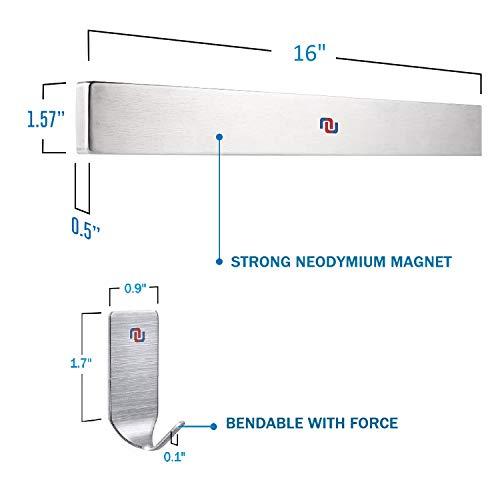 NUNET 16 Inch Stainless Steel Magnetic Knife Bar 4 Hanger Hooks with Adhesive Pad Strong Magnet as Knife Rack/Strip, Kitchen Utensil Hanger, Garage Tool Holder & Home Organizer by NUNET (Image #6)