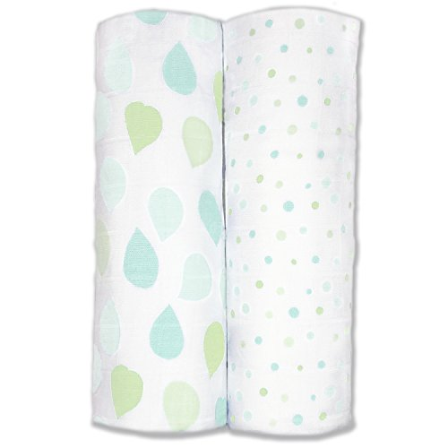Amazing Baby Bamboo Silky Swaddle Muslin Blankets, Set of 2, Viscose from Bamboo, Leaves and Dots, SeaCrystal