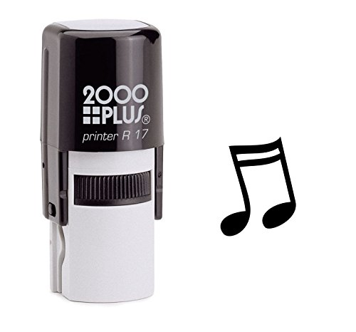 Sixteenth Note Music Self Inking Rubber Stamp - Black Ink (A-6048)