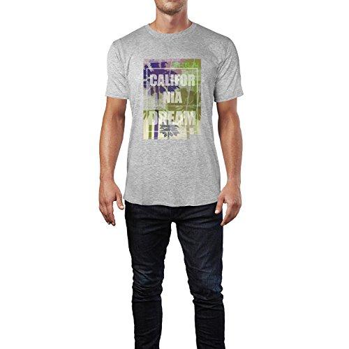 SINUS ART® California Dream Herren T-Shirts in hellgrau Fun Shirt mit tollen Aufdruck
