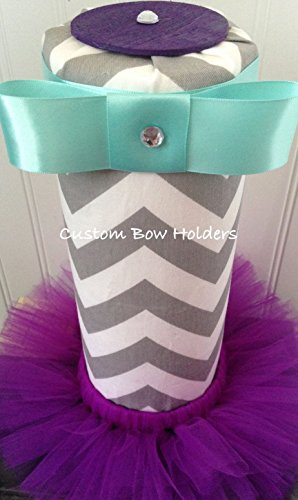 Headband Holder -Tutu Style -Grey Chevron- Any Color Accents (Custom Accent Color)