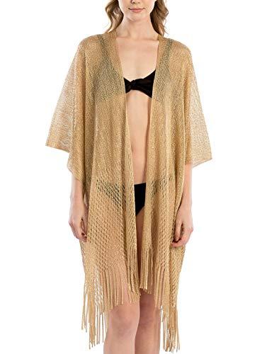 Women's Metallic Net Swimsuits Bikini Beach Swimwear Cover Up Kimono Cardigan Long & Short with Fringes ()