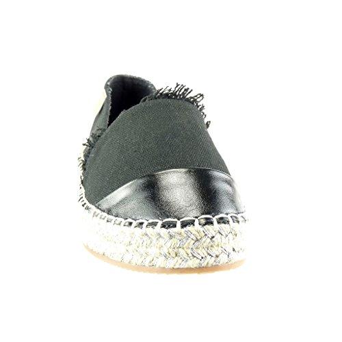 Slip Tacco cm Angkorly Piatto Moda 5 Materiale Espadrillas Nero Donna Lucide Scarpe 2 Tacco bi on Frange wUXZUvHx