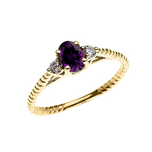 Rope Design Solitaire Ring (10k Yellow Gold Dainty Amethyst Solitaire Rope Design Engagement/Promise Ring (Size 6))