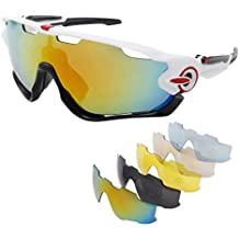 OUTERDO Sports Polarized Sunglasses Cycling UV Eye Protection Windproof Glasses with 5 Lens for Outdoor Sports Running Driving Hiking Shooting Fishing Biking