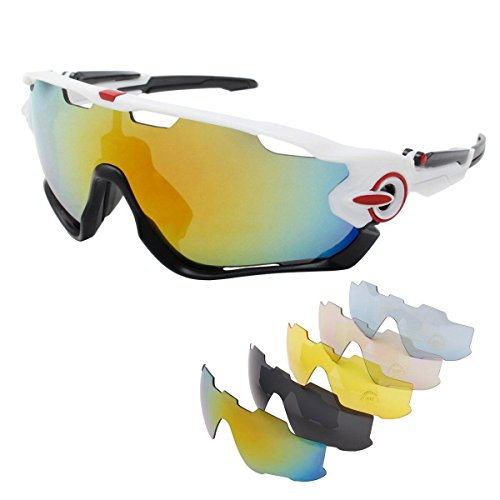 OUTERDO Sports Polarized Sunglasses Cycling UV Eye Protection Windproof Glasses with 5 Lens for Outdoor Sports Running Driving Hiking Shooting Fishing Biking - Jawbreaker Sunglasses