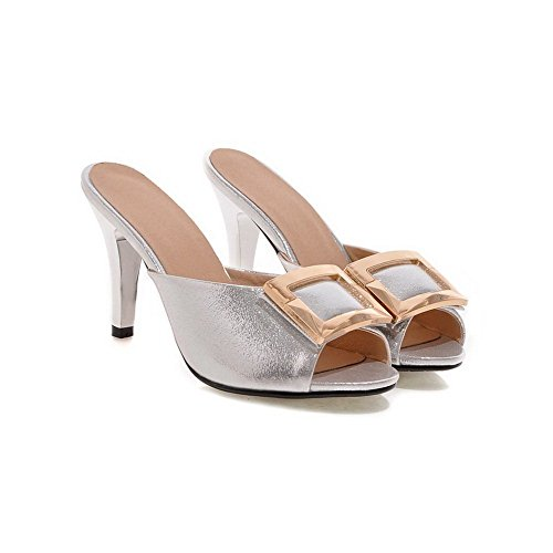 Sandalo In Pelle Con Zeppa Similpelle Cono Balamasa Moda Donna Argento