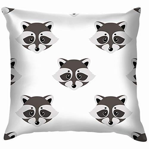 Raccoon Cute Face Animals Wildlife Animal Cotton Linen Home Decorative Throw Pillow Case Cushion Cover for Sofa Couch 20X20 Inch -