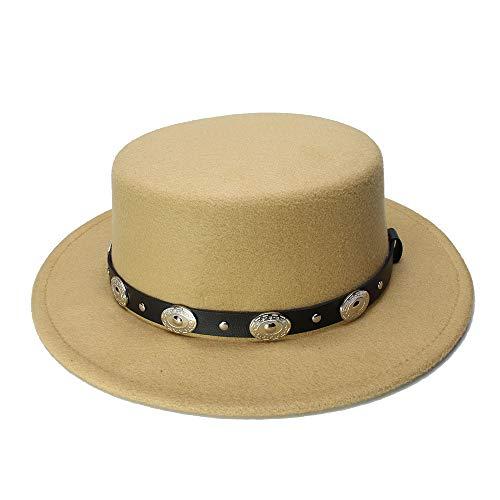 Man&Y Retro Kid Vintage 100% Wool Wide Brim Cap Pork Pie Porkpie Bowler Hat Braid Leather Band(54cm/Adjusted) Elegant Temperament Dinner Accessories (Color : Khaki, Size : ()