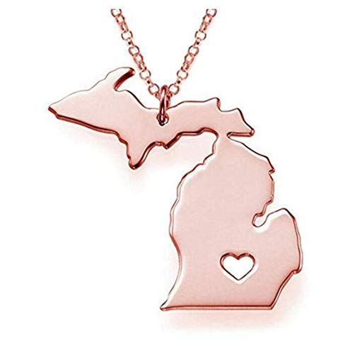 Michigan Outdoor Pendant - Tmrow Rose Gold Tone Stainless Steel Map Pendant Necklace, We Love Michigan, MI