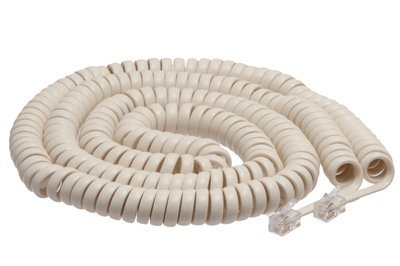 ECore Cables Off White Coiled Telephone Handset Cord – 25 Foot Long Length - 1.5 Inch Flat Leader