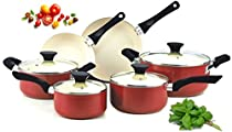 Premium Cookware Set Nonstick PTFE-Free, PFOA-Free, cadmium and lead free, Ceramic Coating 10Piece, Red, Glass Lid
