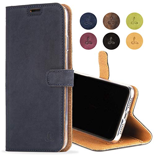 iPhone XR Case, Luxury Genuine Leather Wallet with Viewing Stand and Card Slots, Flip Cover Gift Boxed and Handmade in Europe for Apple iPhone XR (Navy Blue) ()