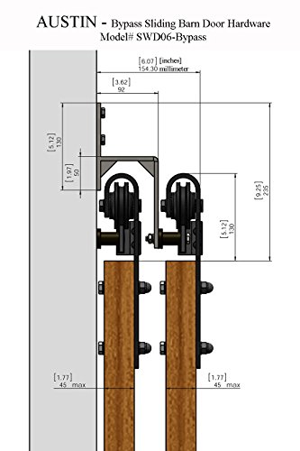 Sbd austin 8 39 feet 98 2 5 m rail double bypass for Dual track barn door hardware