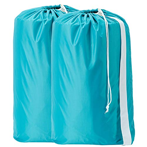 HOMEST 2 Pack Nylon Laundry Bag with Strap, 28 x 40 Inches Rip-Stop Travel Dirty Clothes Shoulder Bag with Drawstring, Large Hamper Liner, Machine Washable, Sky - Bag Laundry Drawstring
