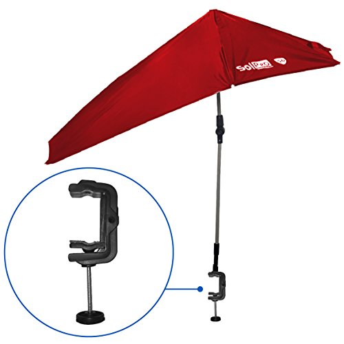 SolPro Clamp-On Shade Umbrella – 4 Way Clamp Umbrella with 360 Degree Swivel and Push Button Hinge. Great for Beach Chairs, Bleachers, Strollers, Wagons, Wheel Chairs or Golf Carts - Outdoor Chair Umbrella