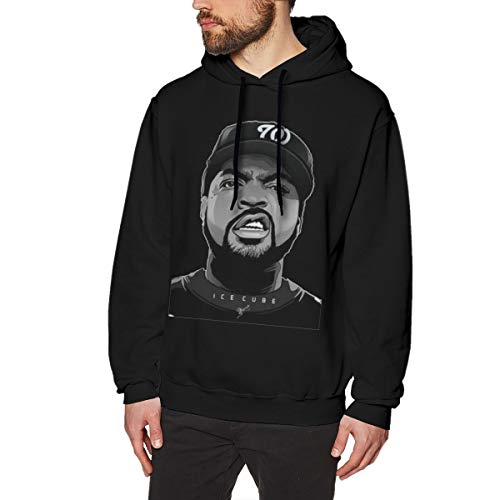 Men's Hoodie Sweatshirt Ice-Cube Cotton Sweater Black XXL]()