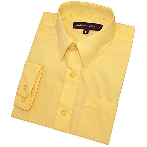 Johnnie Lene Little Boy's Long Sleeves Solid Dress Shirt #JL32 (3T, Yellow)