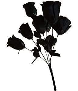 Black Roses Bunch Dead Flowers Silk Like Vampire Monster Bride Halloween Decoration Costume Accessory