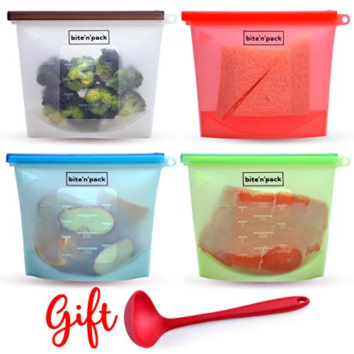 bite'n'pack Reusable Silicone Food Bag - Set of 4 + 1 GIFT LADLE to Store/Boil/Freeze/Heat/Sous Vide Food | Leakproof with Airtight Seal | Microwave Freezer Dishwasher Safe | Kitchen Must-Have