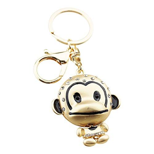 FOY-MALL Fashion Cute Monkey Rhinestone Alloy Keychain Handbag Decoration H1248M