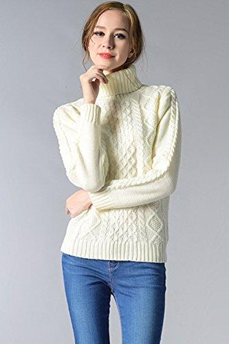 Babyonlinedress Jersey de dibujo para mujer unicolor cuello alto estilo ajustado blanco