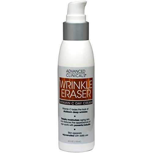 Advanced Clinicals Wrinkle Eraser Vitamin C Cream. Day Cream with Hyaluronic Acid face moisturizer targeting sun spots, uneven skin tone, fine lines, and wrinkles 4 fl. oz.