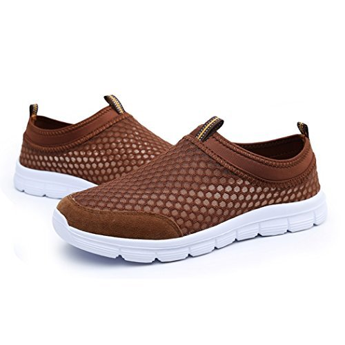 Changping Men&Women¡¯s Lightweight Breathable Qucik-dry Comfort Slip-on Mesh Running Shoes£¬Walking Sneakers Size44 Brown