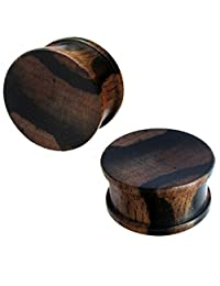 Tiger Wood Plug Dark Brown Black Wooden Hand-Carved Tribal Wooden Plug Tunnel Grain Expander