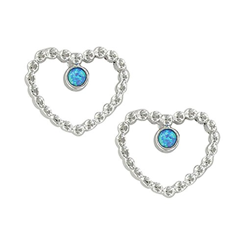 Montana Silversmiths Beads of My Heart Opal Earrings Pair – Hypoallergenic Stainless Steel Posts - Heart Montana Silversmiths