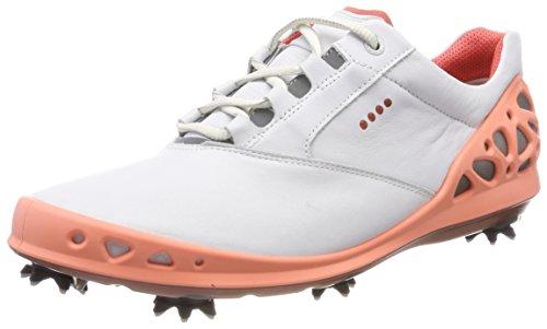 ECCO Women's Cage Gore-Tex Golf Shoe, White/Coral, 39 M EU (8-8.5 (Ecco Ladies Golf)
