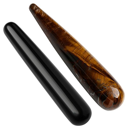 Top Plaza Crystal Massage Wand For Acupuncture Therapy Pointed Stick Tretament Gua Sha Scraping Tool - Black Obsidian + Tiger Eye Stone Black Stone Eye