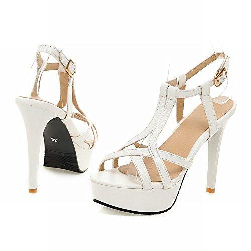 ... Mee Shoes Damen modern süß open toe Slingback Stiletto Schnalle Plateau  Sandalen Weiß ...