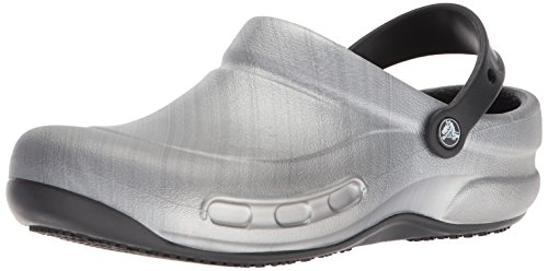 Crocs Unisex  Bistro Graphic Clog Shoe, metallic/silver, 5 M US Men/ 7 M US Women